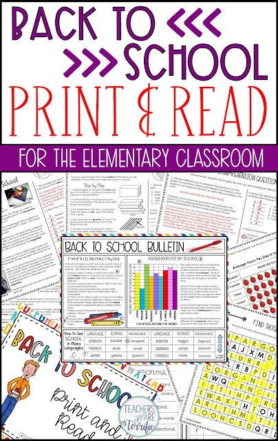 Fabulous resources and ideas to get you started back to school! This blog post will give you details about a Back to School Print and Read Resource! #teachersareterrific