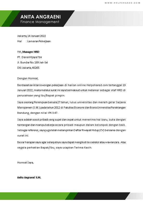 Contoh Surat Lamaran Kerja 7