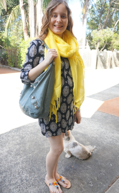 Away From Blue | Spring Shift Dress yellow Love Quotes scarf Ikwetta sandals Balenciaga day bag