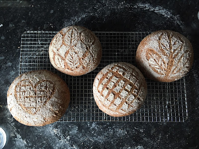 Four round loaves with pretty scoring patterns