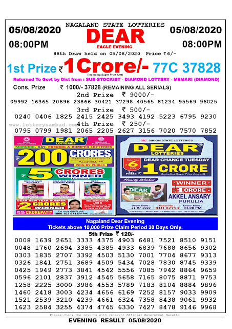 Lottery Sambad Result 05.08.2020 Dear Eagle Evening 8:00 pm