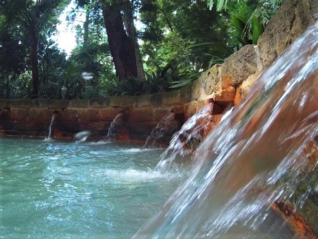 Fuente de aguas ferruginosas termales en el Jardín botánico de Furnas (Açores)