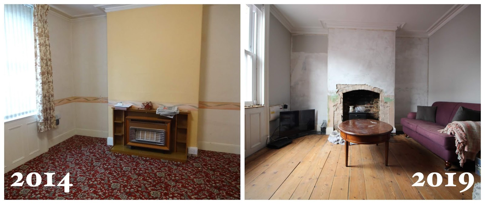 living room renovation before and after 5 years