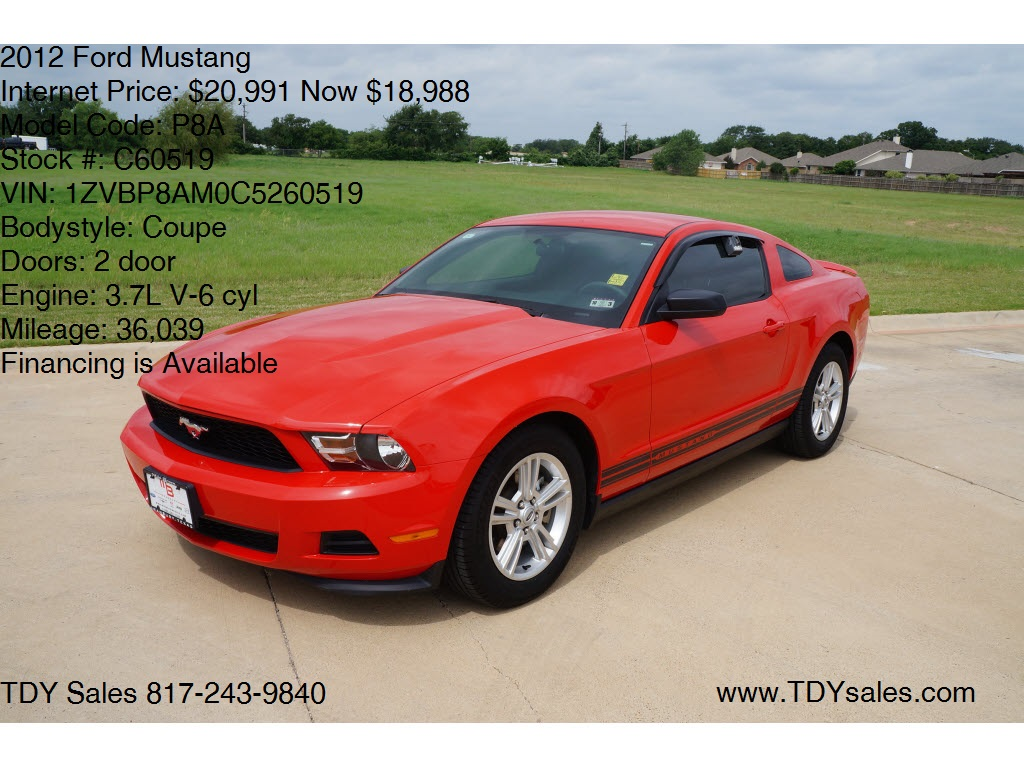 for sale 2012 ford mustang coupe dfw dealer in granbury texas is tdy sales 817 243 9840. Black Bedroom Furniture Sets. Home Design Ideas