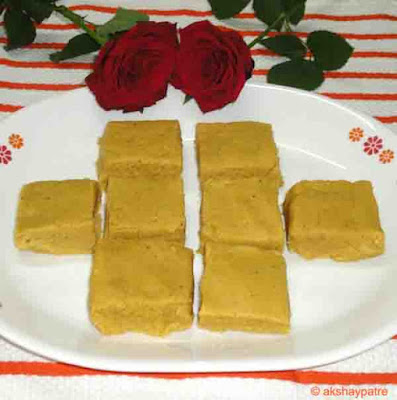 Besan khawa barfi ready to serve