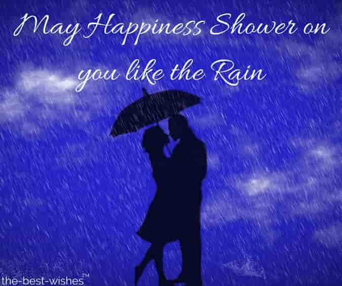 romantic morning wishes with rain and lovely couple
