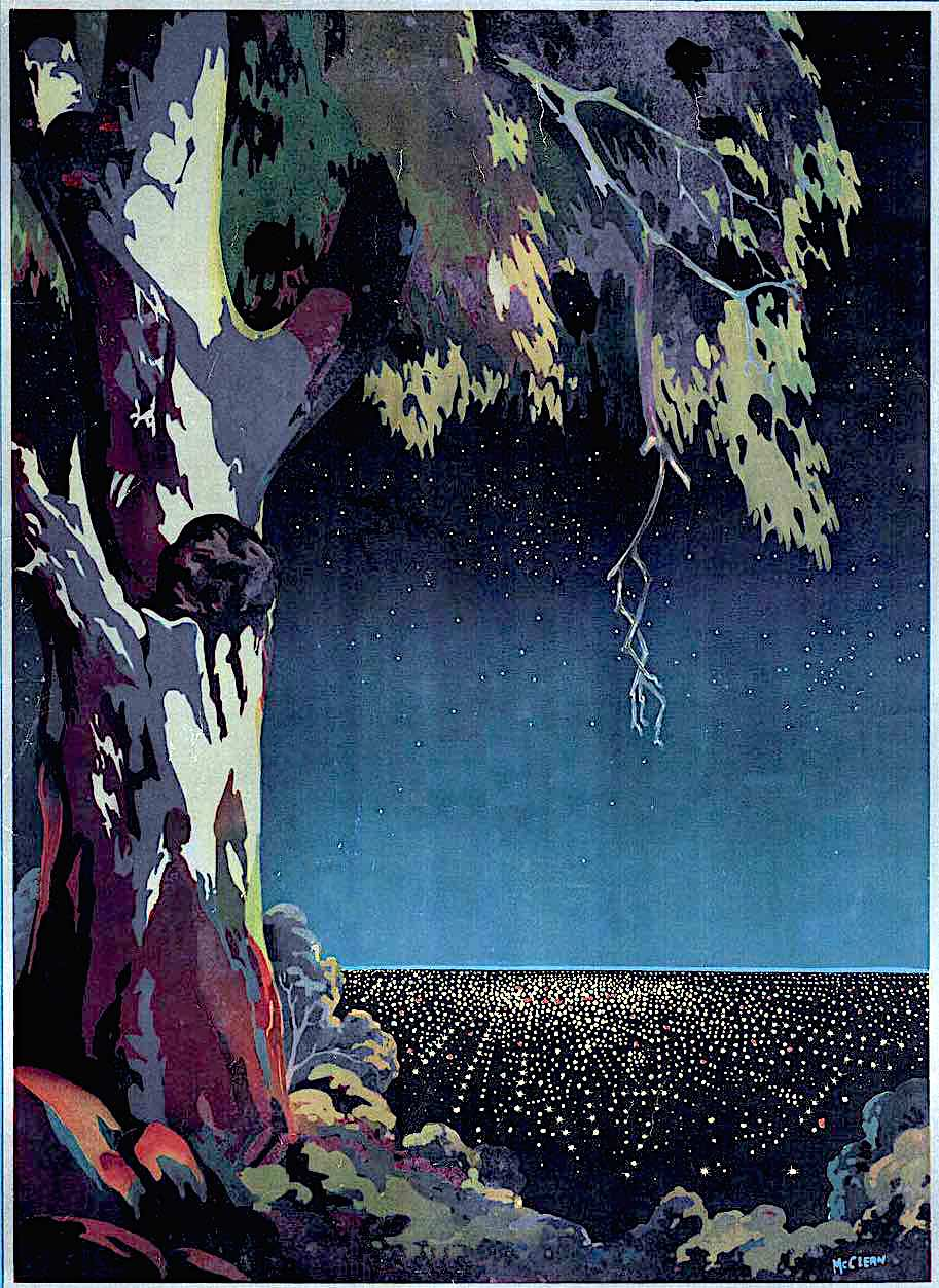 an old poster illustration of a city at night, city lights