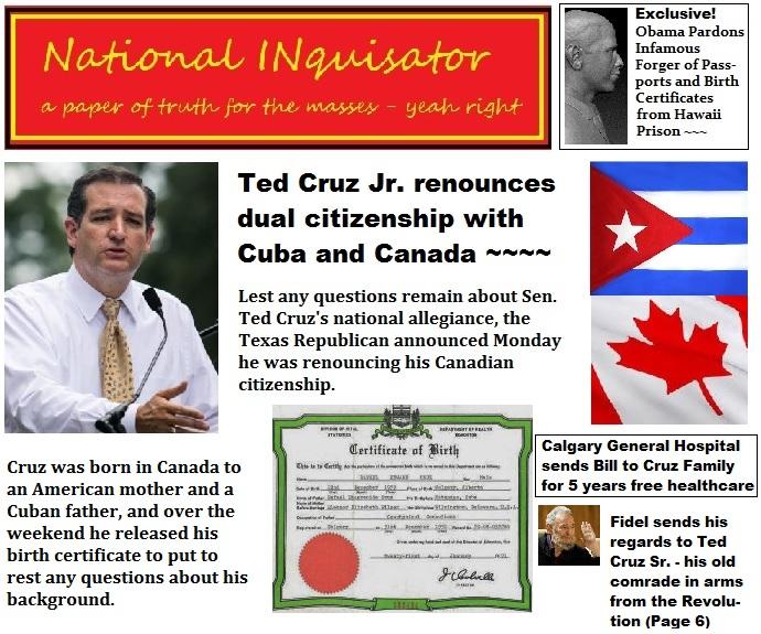 T C C: Sen. Ted Cruz Jr. Of Texas Renounces Dual