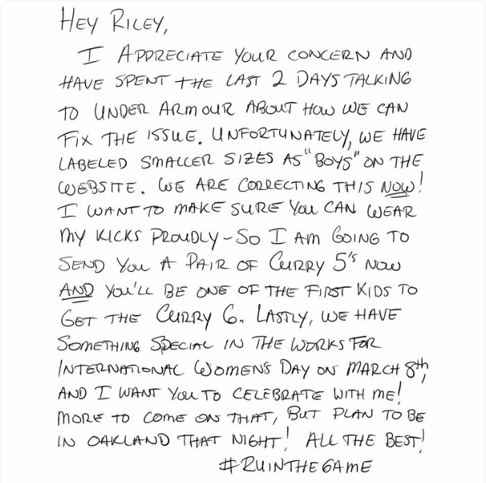 A 9-Year-Old Girl Wrote A Letter To NBA Celebrity Steph Curry Complaining His Shows Are Just For Boys. He Responded With A Present!