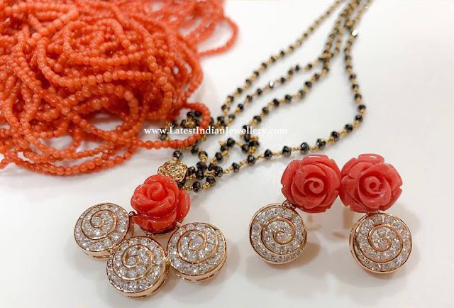Coral Rose Pendant Nallapusalu