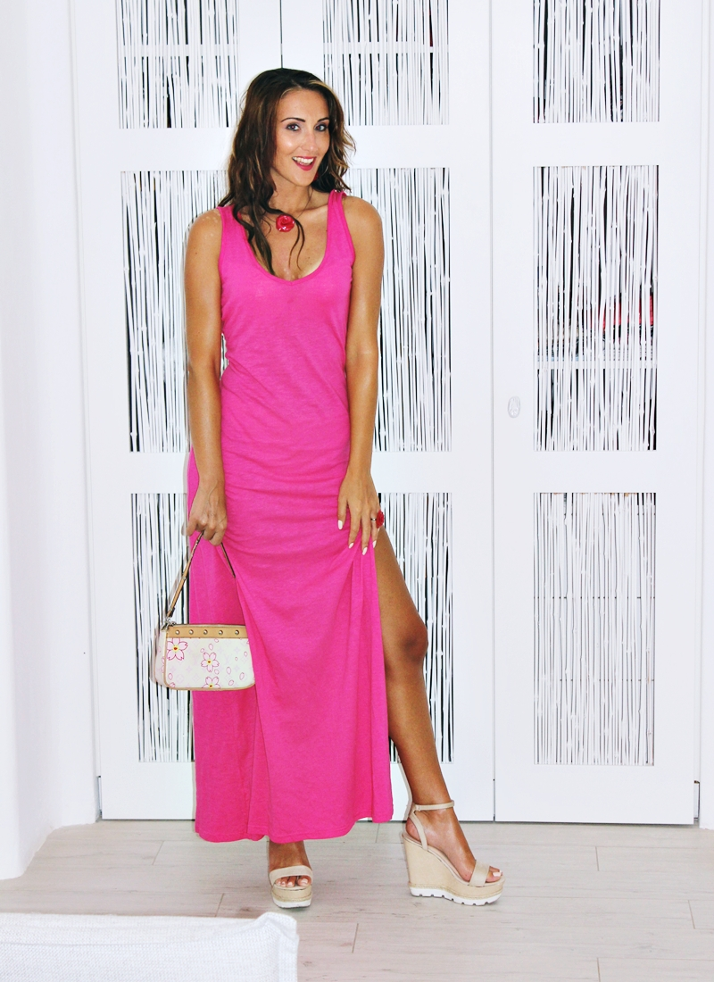 Bubblegum open-back maxi dress.Best holiday looks.