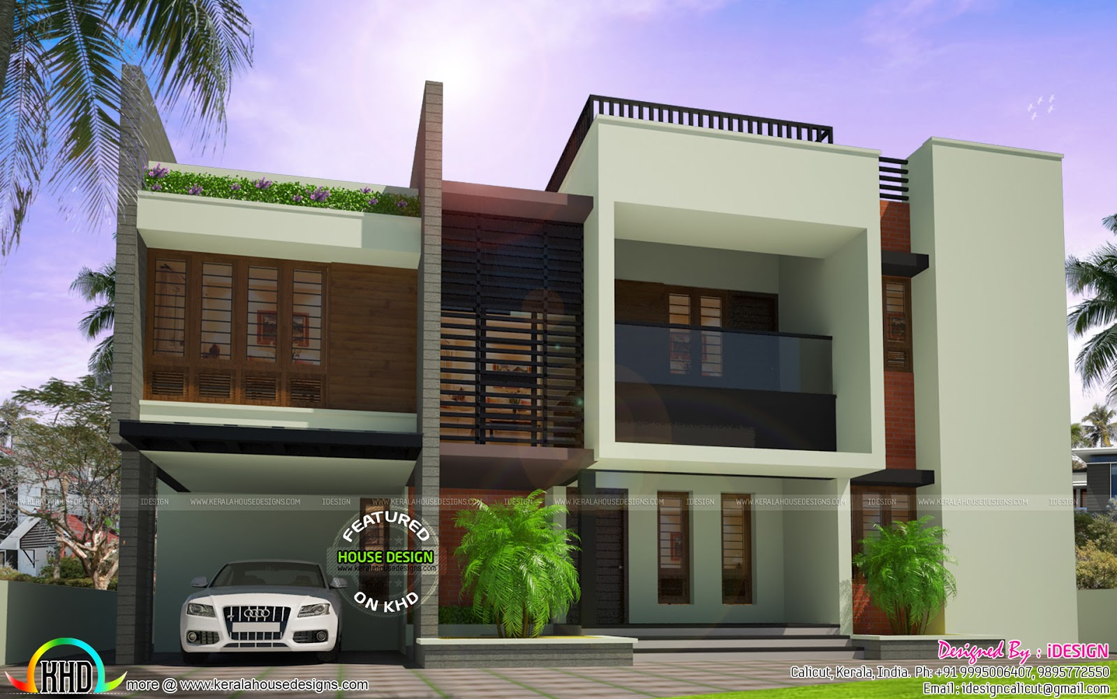 2496 square feet 5 bedroom flat roof modern home kerala for New model contemporary house