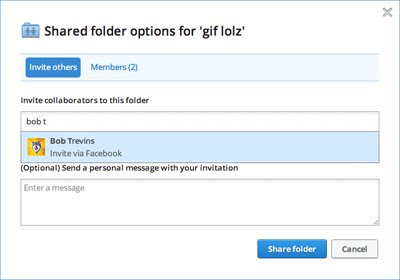Dropbox shared folder options and Facebook sharing