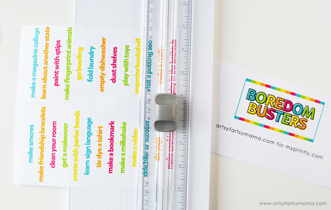 Boredom Busters Jar Printable with Paper Trimmer