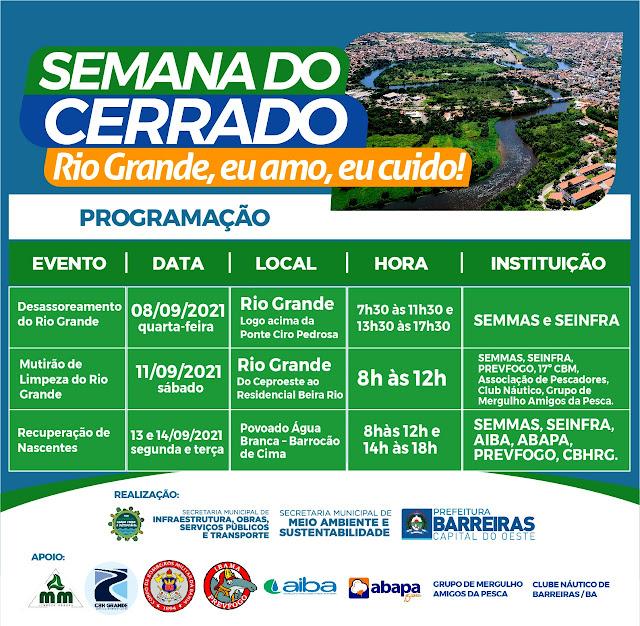 Semana do Cerrado será realizada em Barreiras tendo como foco os cuidados com o Rio Grande