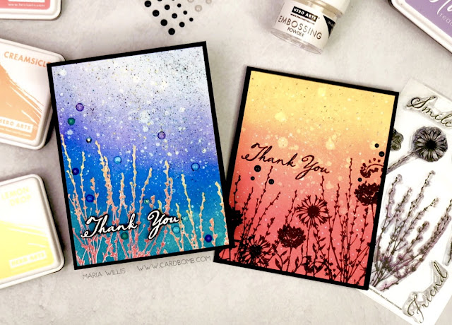 #heroarts, Hero Arts, #simonsaysstamp, Simon Says Stamp, #STAMPtember, #cardbomb, #mariawillis, #stamp, #ink, #paper, #papercraft, #cardmaker, #handmade, #handmadecards, art, ink blending, color, silhouette,