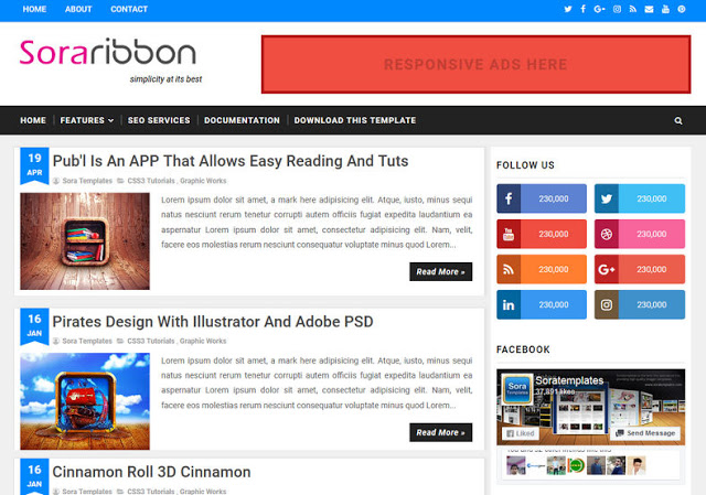 Sora Ribbon mobile friendly blogger template
