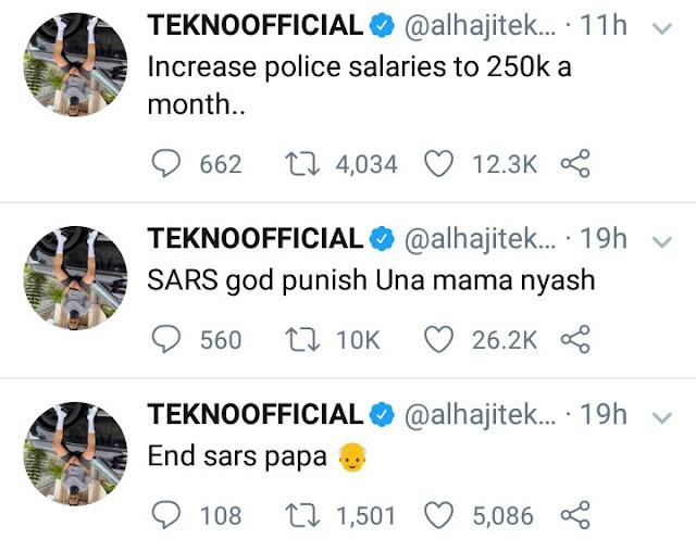 """Increase police salaries to N250k per month"" Tekno"