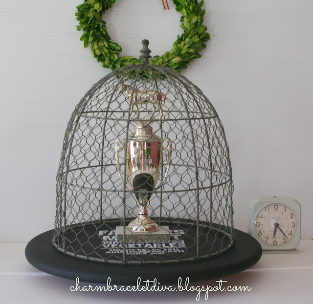 diy painted stenciled farmhouse wire cloche horse trophy lazy susan