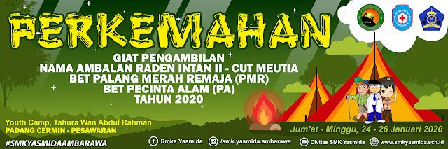 Desain Banner Perkemahan Pramuka PMR dan PA Tahun 2020