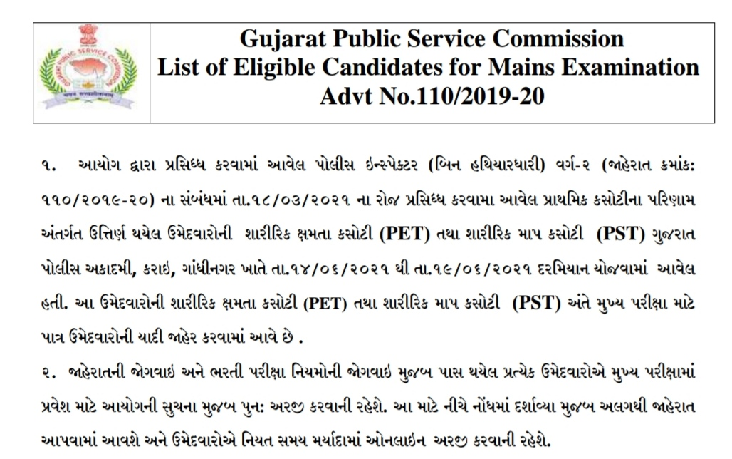 Eligible Candidates list for Main Examination of Advt. No. 110/2019-20 Police Inspector (Unarmed), Class-2 2021.