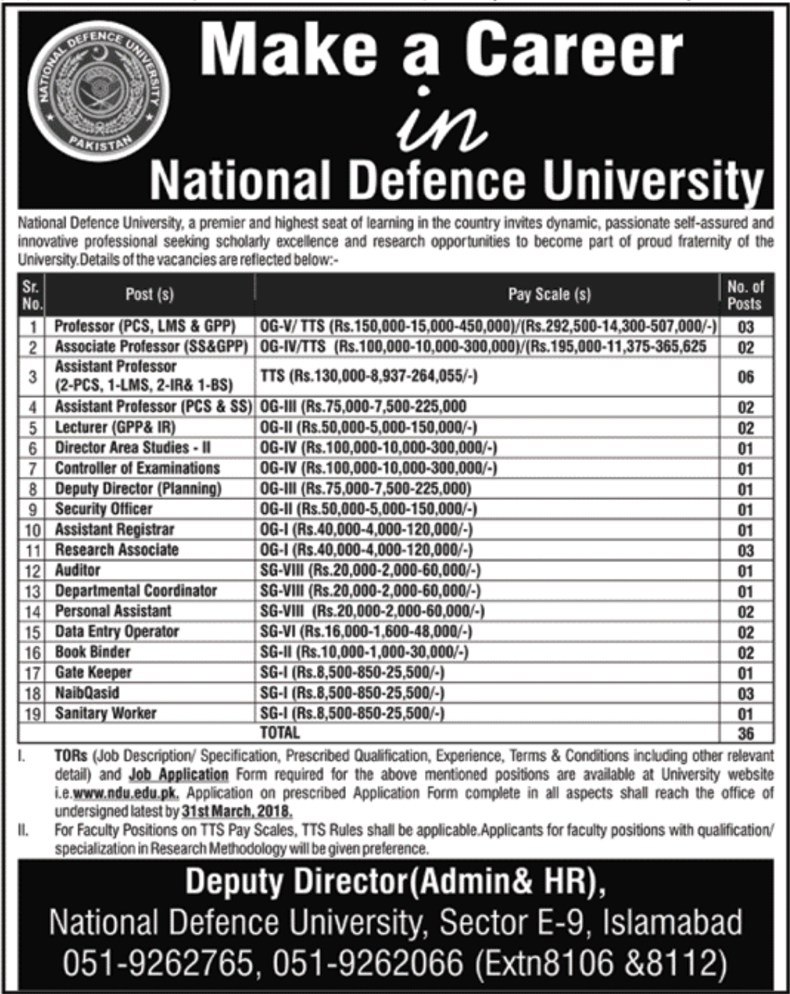 Jobs In National Defence University Islamabad 2018 Application Form Download