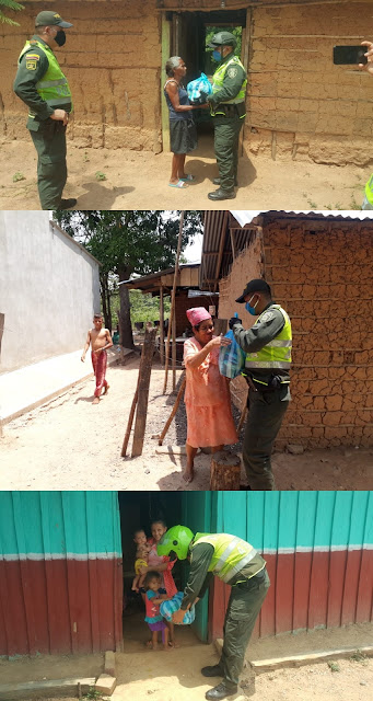 En Curumaní Policías recolectaron 50 mercados para población vulnerable
