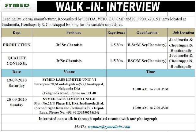 Symed Labs | Walk-in interview for Production/QC on 19&20 Sept 2020 at Hyderabad