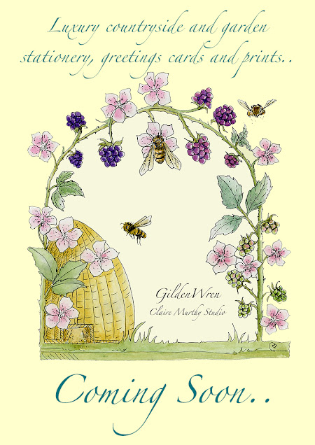 Watercolour painting of blackberries and bees