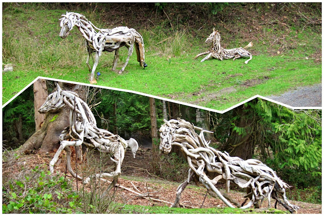 Wooden horses on Mayne Island...
