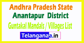 Guntakal Mandal Villages Codes Anantapur District Andhra Pradesh State India