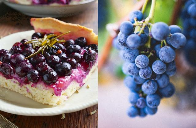 Fladen mit Weintrauben