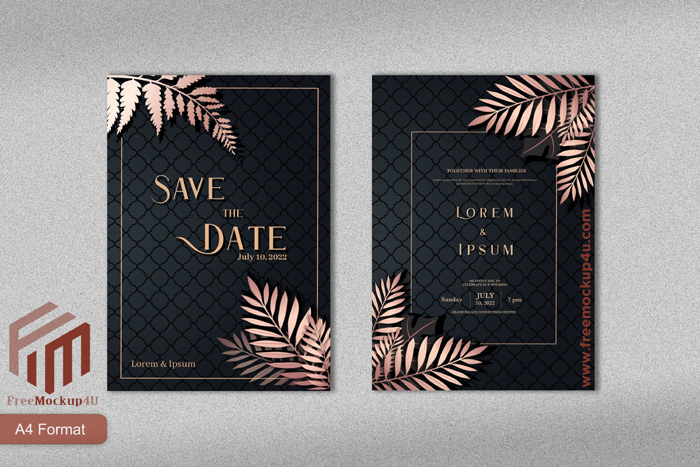 Luxury Wedding Invitation With Rose Gold Tropical Leaves Black Background