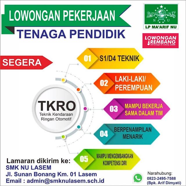 Lowongan Kerja  Tenaga Pendidik SMK NU Lasem Rembang