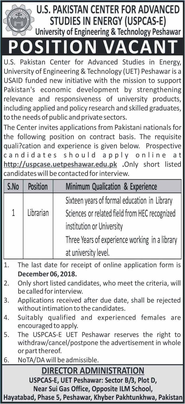 Jobs in US Pakistan Center for Advance Studies  Energy Khyber Pakhtunkhwa 2018