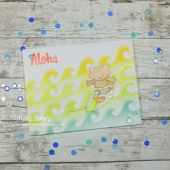 Surfing Kitty Beach Card by Naki Rager | Newton's Perfect Wave Stamp Set and Waves & Splashes Edge Stencil by Newton's Nook Designs #newtonsnook #handmade