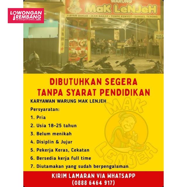 Lowongan Kerja Karyawan Warung Mak Lenjeh Rembang