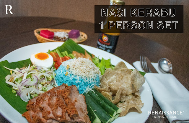 nasi kerabu set bazar makan-makan stay home takeaway renaissance johor bahru hotel