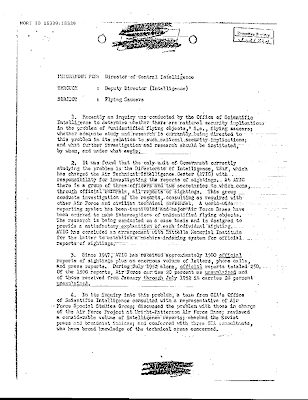 CIA Memo Flying Saucers Circa 1952-1953