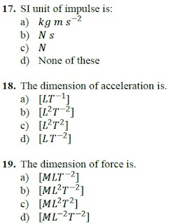 dimensions of force 1st year physics