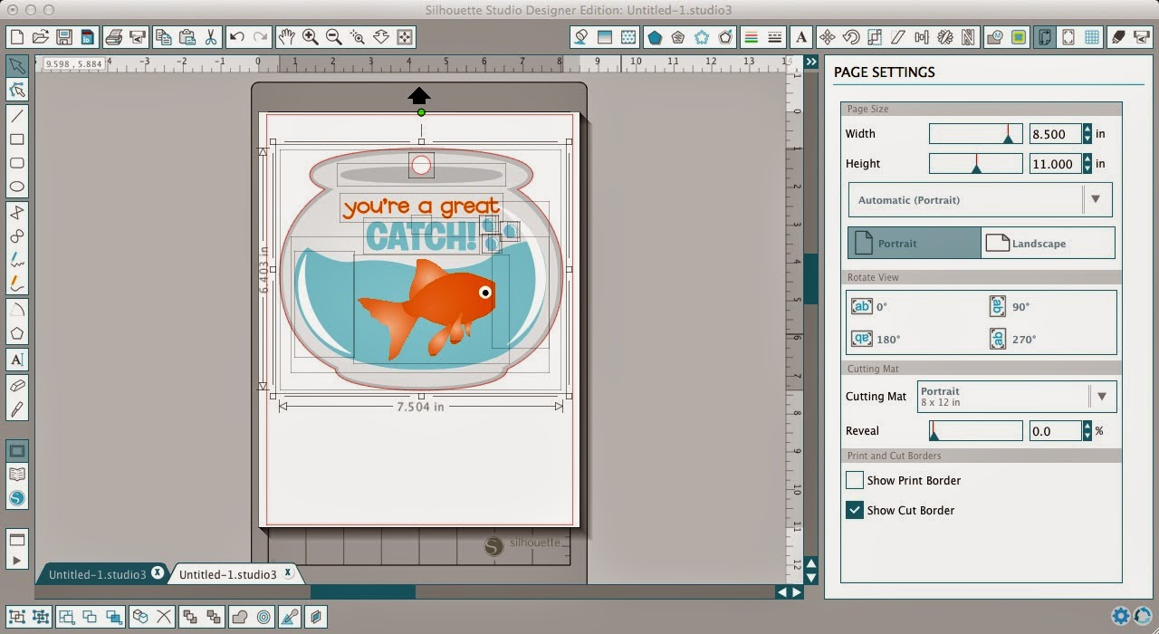 Print and Cut File, change color, Silhouette tutorial, fish, ungroup