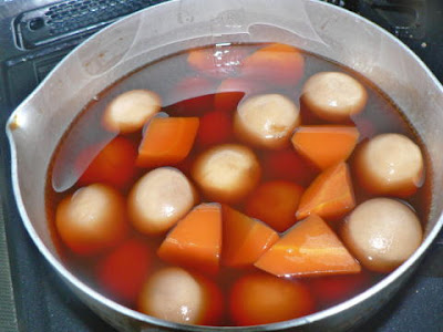 里芋を鍋へ