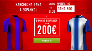 Supercuota 8 sportium Espanyol vs Barcelona + 200 euros liga 29 abril JRVM
