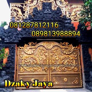 pintu gerbang swing besi tempa model rumah Bali