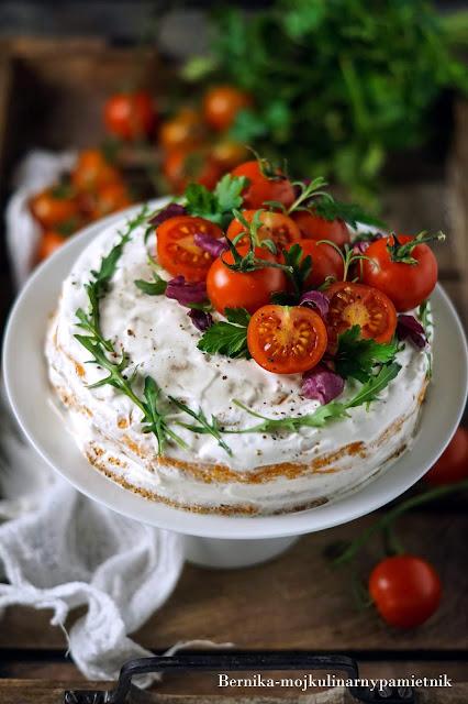 tort, pomidory, przekaska, impreza, ser, krem, bernika, rukola, kulinarny pamietnik