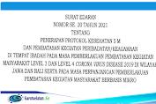 Surat Edaran No. 20 Tahun 2021 Tentang Penerapan Protokol 5M