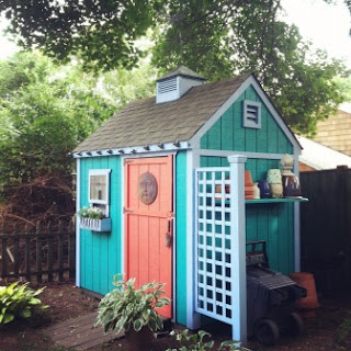 colorful garden shed, artist's potting shed, green, trellis, cupola, Debbie Miller