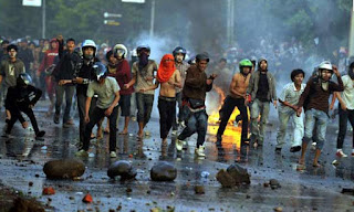 Aksi Demonstrasi Mahasiswa Makassar