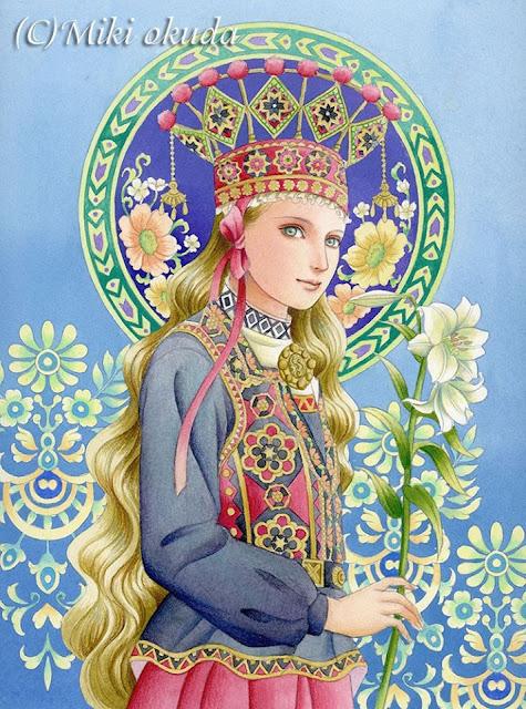 大人の塗り絵、民族衣装、河出書房新社、少女の塗り絵