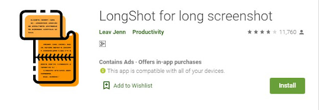 Screenshot panjang Dengan Aplikasi Install Longshot